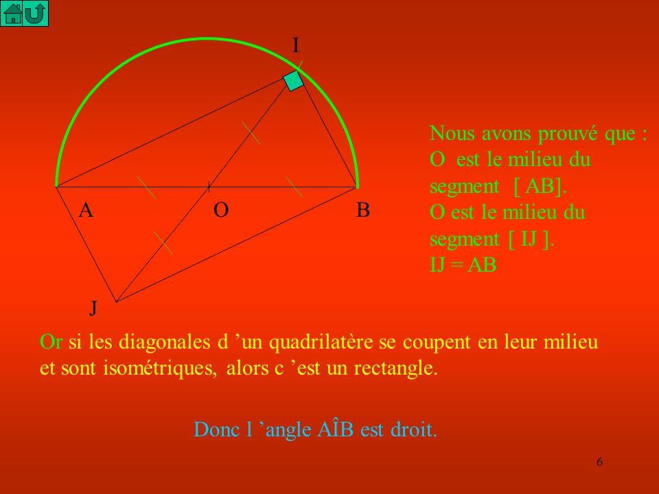 INous avons prouvé que : O est le milieu du segment [ AB]. O est le milieu du segment [ IJ ]. IJ = AB.
